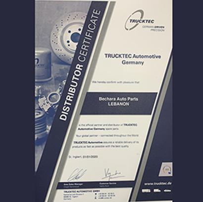 Trucktek Certificate