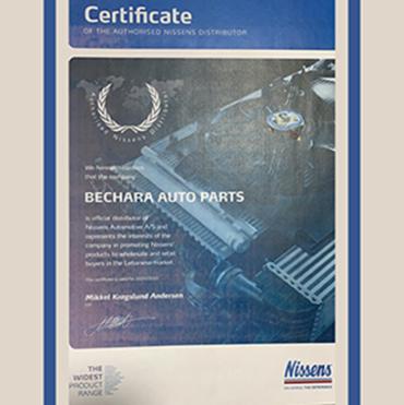 Nissens Certificate